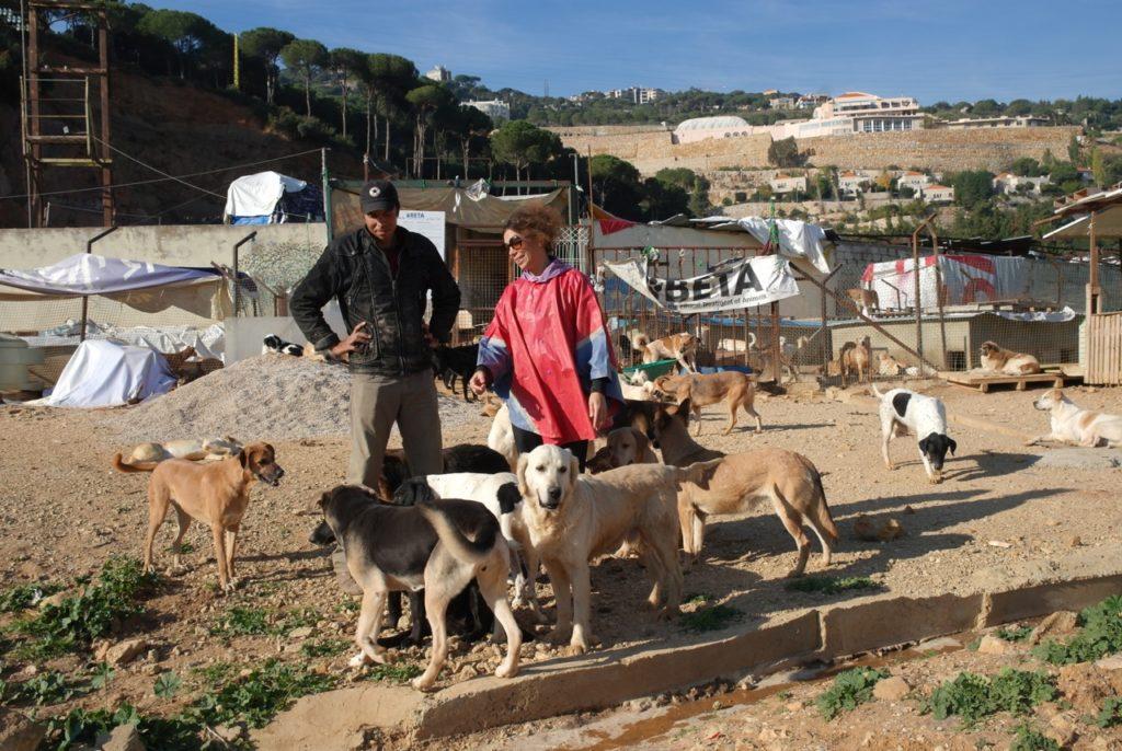 Helfer vor der der Hundeauffangstation in Beirut