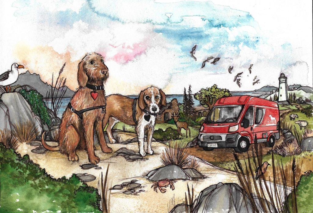 Tierisch-in-Fahrt-Zeichnung von Kiki Kalahari