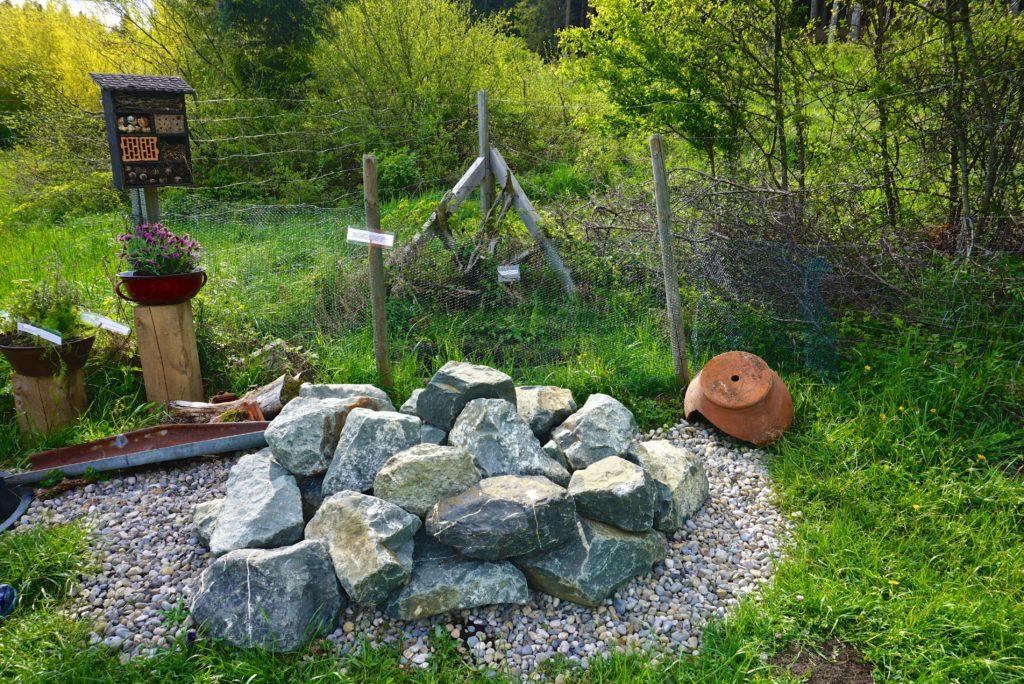 Eidechsenwohnanlage im Naturgarten für Hunde